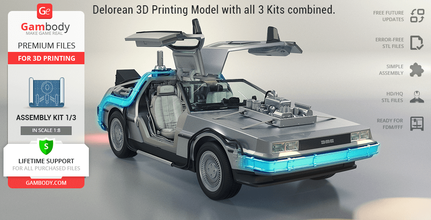 delorean 3d printing model standard assembly kit 1 delorean, bttf, time machine, outatime, dmc-12, flux capacitor, plutonium, time circuits display, time circuits, fire trails, hoverwheels, moon hubcaps, gullwing doors, mr fusion, nuclear fission reactor, flux coils, michael j fox, doc, emmett, brown, doctor, science, marty, mcfly, back to the future, back to the future trilogy, christopher lloyd, movie, icon, pop culture, mcfly, scientist, time travel, delorean figurine, delorean model, delorean miniature, delorean figure, delorean kit, 3d printing, stl files