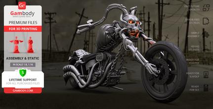 devil chopper 3d printing model assembly devil chopper, motorcycle, bike, cycle, ghost rider, marvel, mcu, marvel comics, comics, chopper, vehicles, horror, johnny blaze, nicholas cage, antihero, superhero, hellfire, skull, demon, devil chopper model, devil chopper figure, devil chopper figurine, devil chopper miniature, 3d printing, stl files