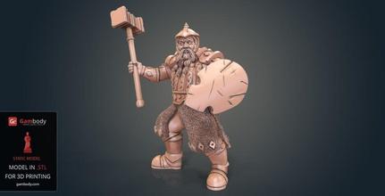 dwarf warrior fighter 3d printing figurine static dwarf warrior fighter, dwarf cleric 3d model, buy dwarf warrior fighter stl files, purchase dwarf warrior fighter for 3D printing, download dwarf warrior fighter 3D printing miniature