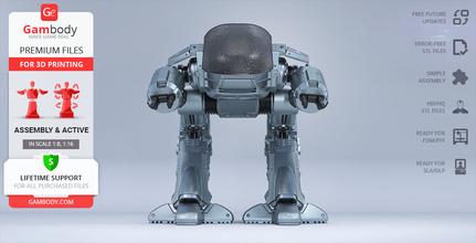 ed-209 1987 3d printing model assembly + action ed-209, ed 209, ed209, mech, robot, robots, robocop, robocop 1987, original ed-209 action, peacekeeping, articulated, omnicorp, cyborg, jose padilha, ocp, droid, enforcement droid, series 209, villain, law enforcement, joshua zetumer, drone, cyberpunk, alex murphy, crime, police, robo, detroit, superhero, ed-209 model, ed-209 miniature, ed-209 figure, ed-209 figurine, 3d printing, stl files
