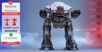 ed-209 3d printing model assembly + action ed-209, mech, robot, robots, robocop, action, peacekeeping, articulated, omnicorp, cyborg, jose padilha, droid, enforcement droid, series 209, villain, law enforcement, joshua zetumer, drone, cyberpunk, alex murphy, crime, police, robo, detroit, reboot, robocop 2014, superhero, ed-209 model, ed-209 miniature, ed-209 figure, ed-209 figurine, 3d printing, stl files