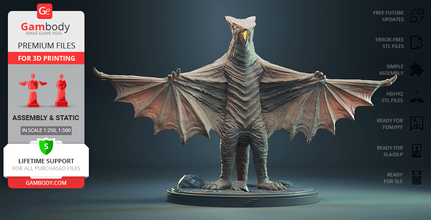 gyaos 3d printing figurine assembly gyaos, gamera vs gyaos, dp, showa era, dopepope, beast, movies, monster, creature, badass, dope pope, kaiju, powerful, boss, japan, concept, design, gamera, prehistoric, bat, bird, monster film, daiei film, bat-like, shadow of evil, atlanteans, supersonic scalpel, gyaos figure, gyaos figurine, gyaos model, gyaos miniature, 3d printing, stl files