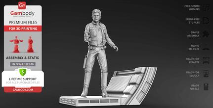 han solo 3d printing figurine assembly han solo, millennium falcon, chewbacca, star wars, solo, a star wars story, death star, smuggler, corellia, corellian, princess leia, new movie, han solo miniature, han solo figure, han solo figurine, han solo model, 3d printing, stl files