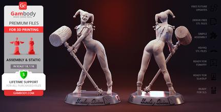 harley quinn 3d printing figurine assembly harley quinn, harley, assembly, DC Comics, DC, joker, suicide squad, villain, comics, batman, batman animated series, arkham, arkham asylum, harleen, quinzel, quinn, movie, harley quinn model, harley quinn figurine, harley quinn miniature, harley quinn figure, harley model, harley figurine, harley miniature, harley figure, 3d printing, stl files