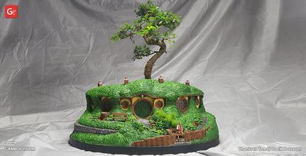 hobbiton bonsai pot 3d printing model assembly bilbo baggins, bag end, hobbiton, the lord of the rings, smial, hobbit-hole, bagshot row, shire, bonsai tree, pot, planting, plant, gandalf, frodo baggins, samwise gamgee, hobbit, tolkien, bilbos homes, LOTR, Hobbiton Bonsai Pot figure, Hobbiton Bonsai Pot figurine, Hobbiton Bonsai Pot model, Hobbiton Bonsai Pot miniature, 3d printing, stl files