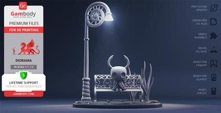 hollow knight 3d printing figurine diorama assembly hollow knight, bench, hollow knight bench, hollow knight diorama, hornet, game model, the knight, pale king, kingsoul, little ghost, little traveller, little wanderer, hallownest, action-adventure, adventure, video game, hollow knight figure, hollow knight figurine, hollow knight model, hollow knight miniature, 3d printing, stl files, hero