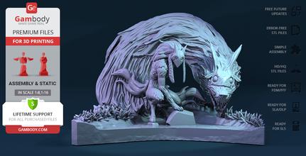 kindred 3d printing figurine assembly kindred, twin, lol, league of legends, eternal hunters, wolf, runeterra, shepherd, valoran, hunt, noxus, lamb, kiss the wolf, ancient masks, kindred figure, kindred figurine, kindred model, kindred miniature, 3d printing, stl files
