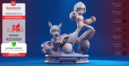 mega man & rush 3d printing figurines diorama assembly mega man, mega man rush, mega man and rush, mega man rush diorama, mega man diorama, Blue Bomber, video game, rockman, capcom, game, japan, robot, assembly, action, sci-fi, mega man model, mega man figure, mega man figurine, mega man miniature, mega man rush model, mega man rush figure, mega man rush figurine, mega man rush miniature, 3d printing, stl files