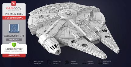 millennium falcon 3d print model standard assembly kit star wars, millennium falcon, 3d model, millennium falcon 3d model, milllennium falcon 3d model for sale, buy millennium falcon 3d model, millennium falcon stl, buy millennium falcon stl file, vehicles, ship, ships