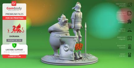 obélix romain légionnaire 3d impression figurines diorama obélix romain légionnaire bande dessinée livre bandes dessinées Belge astérix obélix romain légionnaire donner coup diorama astérix obélix rene