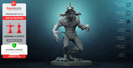 party beach monster 3d printing figurine assembly dopepope, the horror of party beach, creature, bird, merman, gillman, shlock, kaiju, seamonster, reptile, beast, bmovie, movies, monster, design, party beach monster figure, party beach monster figurine, party beach monster model, party beach monster miniature, 3d printing, stl files