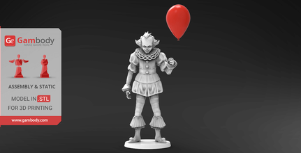 pennywise clown 3d printing miniature assembly pennywise, it, movie, film, clown, 3d printing miniature, stl, stl files, pennywise 3d, clown 3d printing miniature, clown 3d model, model of clown, 3d printing, villain, villains, horror