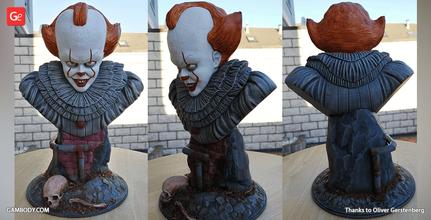 pennywise pencil holder bust 3d miniature assembly pennywise, it, stephen king, bust, pennywise, it, movie, film, clown, 3d printing miniature, stl, stl files, pennywise 3d, clown 3d printing miniature, clown 3d model, model of clown, 3d printing, villain, villains, horror