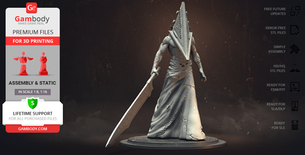 pyramid head 3d printing figurine assembly pyramid head, red pyramid thing, great knife, bogeyman, james sunderland, masahiro ito, book of lost memories, executioner, shadowed one, sankaku atama, cult, the order, brookhaven hospital, triangle head, holy apostle,silent hill, silent hill 2, video game, monster, evil, horror, antagonist, villains, villain, pyramid head figure, pyramid head figurine, pyramid head model, pyramid head miniature, 3d printing, stl files