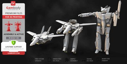 robotech vf-1s valkyrie 3d printing model action assembly vf-1s, macross, robotech, varitech, valkyrie, robot, robots, gerwalk, battroid, fighter, mech, anime, japan, vf-1s model, vf-1s figure, vf-1s figurine, vf-1s miniature, 3d printing, stl files, transformers, action
