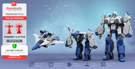 robotech vfa-6 alpha 3d printing model action assembly vfa-6, alpha, macross, robotech, varitech, robot, robots, guardian, battloid, fighter, vehicle, mech, mecha, toys, anime, series, japan, super robot, vfa-6 model, vfa-6 figure, vfa-6 figurine, alpha miniature, alpha model, alpha figure, alpha figurine, alpha miniature, 3d printing, stl files, transformers, action