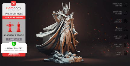 sauron 3d printing figurine assembly the lord of the rings, lotr, sauron, middle-earth, master, evil, villain, mace, maiar, one ring, mordor, tolkien, j r r tolkien, dark lord, necromancer, antagonist, hobbit, morgoth, barad-dûr, dark fortress, last alliance, mount doom, rings of power, eye of sauron, legendarium, sauron figure, sauron figurine, sauron model, sauron miniature, assembly, 3d printing, stl files