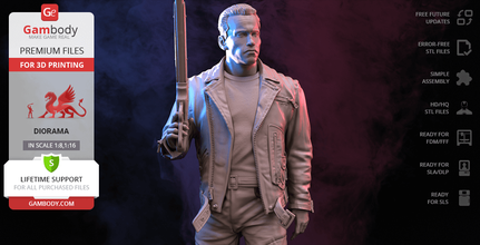 terminator t-800 3d printing figurine assembly terminator, t-800, t800, t-1000, t1000, skynet, robot, sarah connor, john connor, kyle reese, judgment day, cyberdyne, arnold, schwarzenegger, terminator figure, terminator figurine, terminator model, terminator miniature, diorama, 3d printing, stl files