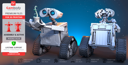 wall-e 3d printing model assembly + action wall-e, wall·e, assembly, action, robot, mech, cartoon, waste allocation load lifter, eve, trash compactor, sci-fi, animated film, pixar, disney, axiom, droid, hal, garbage cube, buy-n-large, bnl, earth, animation, wall-e figure, wall-e figurine, wall-e model, wall-e miniature, wall·e figure, wall·e figurine, wall·e model, wall·e miniature, 3d printing, stl files