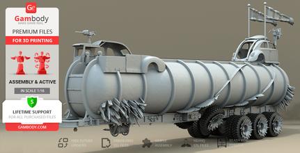 war rig tanker 3d printing model assembly + action war rig, war rig tanker, war rig trailer, fuel tanker, fuel tank, furiosa, mad max, mad max fury road, mad max: fury road, imperator furiosa, george miller, tatra, tatra t815, the war rig, war machine, charlize theron, post-apocalyptic, road war, action, action movie, film, australia, immortan joe, assembly, vehicle, car, truck, war rig model, war rig figurine, war rig miniature, war rig figure, war rig tanker model, war rig tanker figurine, war rig tanker miniature, war rig tanker figure, 3d printing, stl files, tanker