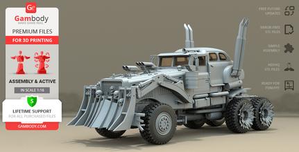 war rig truck 3d printing model assembly + action war rig, war rig truck, furiosa, mad max, mad max fury road, mad max: fury road, imperator furiosa, george miller, tatra, tatra t815, the war rig, war machine, charlize theron, post-apocalyptic, road war, action, action movie, film, australia, immortan joe, assembly, vehicle, car, truck, war rig model, war rig figurine, war rig miniature, war rig figure, war rig truck model, war rig truck figurine, war rig truck miniature, war rig truck figure, 3d printing, stl files, tanker