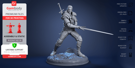 witcher 3d printing figurine assembly witcher 3d model for sale, buy witcher 3d printing file, order wild hunt witcher 3d print model, wild hunt witcher 3d printer files for sale, witcher 3d model download, witcher, geralt of rivia, geralt, video game, kaer morhen, school of wolf, wolf medallion, medallion, serpentine steel, silver sword, wild hunt, white wolf, gwynbleidd, white one, alchemy, andrzej sapkowski, yennefer, ciri, triss, witcher figure, witcher figurine, witcher model, witcher miniature, 3d printing, stl files