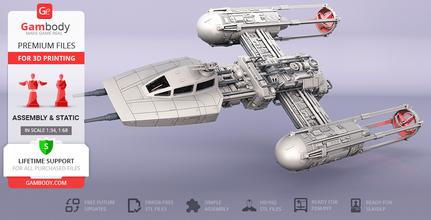 y-wing starfighter 3d printing model assembly y-wing starfighter, y-wing, starfighter, galactic empire, empire, fleet, btl y-wing, btl-series, bomber, clone wars, koensayr, galactic civil war, rebel alliance, republic navy, astromech droid, r2-d2, star wars, starwars, sw, y-wing figure, y-wing figurine, y-wing model, y-wing miniature, y-wing starfighter figurine, y-wing starfighter model, y-wing starfighter miniature, 3d printing, stl files, vehicles, ship, ships, space, spaceship, space craft