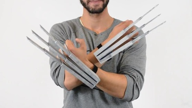 modified big hands wolverine claws dual action pinshape hands claws claw blade blades prop costume costumes cosplay cos-play x-men xmen marvel comics the-wolverine wolverines wolverine
