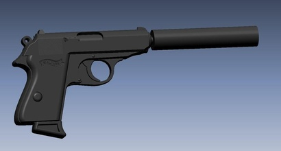 walther ppk silencer & model pinshape 3d-design