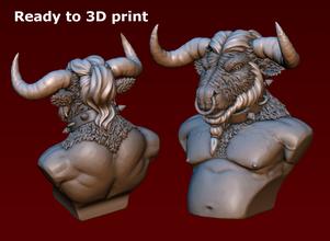minotaur bust pinshape monster ancient-greece mutant character greece minotauras buffalo bull bust minotaur-bust minotaur