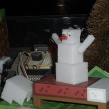 block snowman pinshape winter toy snowman snow minecraft fun christmas