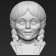 annabelle bust print ready 3d model here annabelle doll conjuring universe bust 3d model ready 3d printing model current size 5 cm height but you free scale it zip file contains obj stl model created zbrushif you have any questions please don't hesitate contact me respond you asap encourage you check my other celebrity 3d models