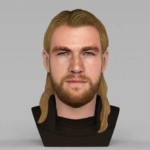 chris hemsworth avengers thor bust full color print ready 3d model here thor chris hemsworth bust 3d model ready full color 3d printing model current size 5 cm height but you free scale it zip file contains obj wrl texture png model created zbrush mudbox photoshopi am attaching stl file if you would like print standard materials tooif you have any questions please don't hesitate contact me respond you asap encourage you check my other celebrity 3d models