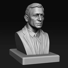 daniel craig james bond bust print ready 3d model daniel craig bust 3d printingplease read description carefully before purchasing pack contains obj stl files has two versions -daniel craig thickness-it has thickness given me also contains hole better printing saving material -daniel craig without thickness-it has no thickness allif you have any problem 'dc thickness' version you can take model give your own thickness itimportant note-the buyer must have good knowledge 3d printing buyer has do things like importing files into 3d print software aligning giving support etc order print filethe file has been successfully checked autodesk meshmixer 3d print errors like-watertight flipped faces holes non-manifold faces etcso its error freeit has only 1 object printproduct dimension provided imagesall important details has been provided images given pack hope you like modelfeel free ask anything further assistancethanks