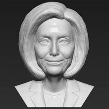 nancy pelosi bust print ready 3d model here nancy pelosi bust 3d model ready 3d printing model current size 5 cm height but you free scale it zip file contains obj stl model created zbrushif you have any questions please don't hesitate contact me respond you asap encourage you check my other celebrity 3d models