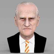 prince philip bust full color print ready 3d model here prince philip bust 3d model ready full color 3d printing model current size 5 cm height but you free scale it zip file contains obj wrl texture png model created zbrush mudbox photoshop
