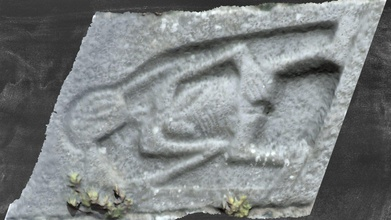kk013-002003 - clomantagh - sheela-na-gig - 3d model dh age sheela-na-gig3d project dh age 99f800c horizontal sheela-na-gig located quoin sw corner clomantagh castle kk013-002001- just below fourth floor level current 3d model slightly warped due angle photo large tree stands front carving described freitag large figure set within recessed frame head rests long thin neck flat droopy breasts wavy lines across upper torso indicating ribs left arm front body hand touching square cavity indicating vulva right arm bent elbow lower arm raised up towards side head two long strands head appear hair similar rochestown moycarky drawings suggesting these accurate vulva pronunced some suggesting something hangs between opening appears detailing figure has cleft-lip also - kk013-002003 - clomantagh - sheela-na-gig - 3d model dh age sheela-na-gig3d project dh age 99f800c