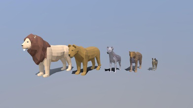 low poly african predators - buy royalty free 3d model chroma3d vendol21 f18ae71 low poly animals modeled prepared low-poly style renderings background general cg visualization presented 5 meshes quads only low poly cartoon lion verts 842 faces 840 low poly cartoon female lion verts 762 faces 760 low poly cartoon hyena verts 832 faces 830 low poly cartoon leopard verts 1096 faces 1066 low poly cartoon jackal verts 976 faces 974 all models have simple diffuse colors please note leopard jackal hyean have simple diffuse texture uvmaps 2 lions have simple diffuse colors no rig all models original files created blender you receive 3ds obj fbx blend dae stl all preview images were rendered blender cycles product ready render out-of-the-box please note lights cameras background only included blend file models clean alone other provided files centered origin have real-world scale - low poly african predators - buy royalty free 3d model chroma3d vendol21 f18ae71