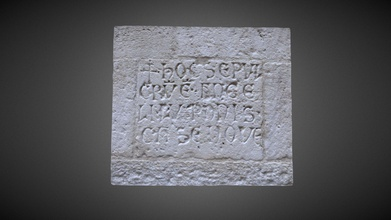 medieval inscription - 3d model daniele mittica daniel83 4790741 funeray inscription walled eastern facade transpet cathedral bari dated back 11th 13th century ad transcript crux hoc sepul cru m e st ange li luponis casenove - medieval inscription - 3d model daniele mittica daniel83 4790741