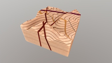 no 121 - topographic map block w dipping planes - download free 3d model phaneritic phaneritic bc07670 topographic map block w dipping planes wooden block features sequence brilliant white alder boards inter-layered thin veneer cherry quarter sawn english brown oak layers veneer create illusion topographic contour map carved surfaces regular contours outlined lighter layers cherry veneer every fifth contour index contour interval highlighted brown oak veneer block cut four 1 8 inch thick layers range attitude vertical shallowly dipping students can use these planes practice using intersections contours calculate strikes dips block also bisected thin vertical trace black african wenge veneer students can use construct topographic profiles geologic cross sections along wood model kurtis c burmeister etsy com shop strainshadowdesigns instagramcom strainshadowdesigns twittercom strainshadow photogrammetric model ryan j hollister - no 121 - topographic map block w dipping planes - download free 3d model phaneritic phaneritic bc07670