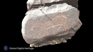 petroglyph v24 khatm al melaha kalba sharjah - download free 3d model global digital heritage globaldigitalheritage 30a68db petroglyph v24 khatm al melaha kalba sharjah syrian wild ass likely neolithic 5th-4th millennium bce fossati 2019 messages past rock art al-hajar mountains oman  khatm al melaha spectacular archaeological site coast oman sea near kalba sharjah uae one largest rock art sites uae there also stone houses shell midden stone tombs other features date site has having occupations least early holocene 19th century over 175 stones petroglyphs were documented close 400 motifs were identified every rock glyph given id number gps coordinate total 25455 terrestrial photographs 5244 drone photographs 44 drone videos 182 gps points + - 1cm were done single day all processed reality capture - petroglyph v24 khatm al melaha kalba sharjah - download free 3d model global digital heritage globaldigitalheritage 30a68db