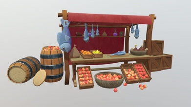 stylized market stall - 3d model dan cliff dancliff 8dc77dc learnt lot project had lot fun created using 3ds max substance painter & z-brush - stylized market stall - 3d model dan cliff dancliff 8dc77dc
