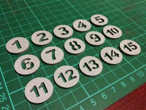 kelly pool tokens numbered 1-15 v2 toy & game accessories billiards dualstrusion dual color dual extruder dual extrusion game game token kelly kelly pool numbered numbered coins numbered tokens pool snooker token tokens