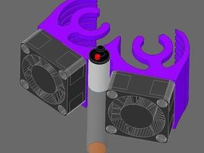 space-efficientprobe-ready 25mm dual fan shroud e3d-v6 clone differs slightly dimmensions original printer parts 3d printer 3d printer dual fan angled fan shroud axial fans shroud compact hotend shroud compact probe fans inductive probe inductive sensor probe fan shroud
