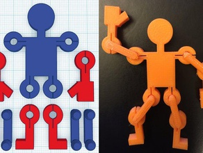 movable figure 3d printing action figures snap-fit snap-together snapfit snap fit snap together