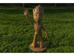 baby groot standing waving w stand sculptures baby groot guardians galaxy