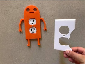 robot wall socket cover 3d printing 3d printed alunar electic outlet electric wall sockets home repair household multipurpose replacements robot robot art themed wall outlet wall plug cover wall socket cover wall outlet wall plug wall sockets