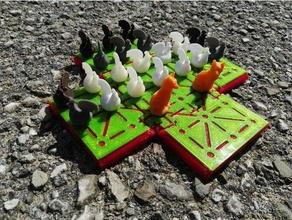 fox & hen board game fox & geese playsets boardgame boardgames board game chicken chickens fox fox chicken fox geese fox hen fuchs henne magnet magnets