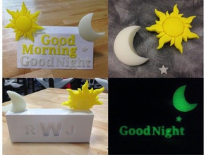 good morning good night glow dark 3d sculpture sculptures bedtime bed time customizable gift gifts glow glow-in-the-dark glowing glow dark good morning good night greeting greetings monogram moon multicolor name night night light personalizable personalize personalized star sun
