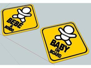 cartel beb bordo sign baby board 3d printers auto baby beb board bordo cartel kids latinamerican ni o northamerican seguridad segurity sign uruguay uruguay el mejor pais